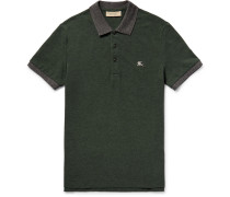 Slim-fit Two-tone Cotton-piqué Polo Shirt