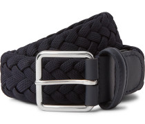 4cm Navy Leather-Trimmed Woven Elastic Belt