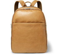 Suede-panelled Leather Backpack