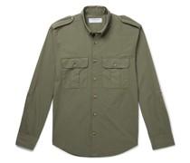 + Johannes Huebl Button-Down Collar Cotton-Poplin Shirt