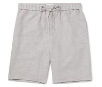 Mélange TENCEL and Linen-Blend Drawstring Shorts
