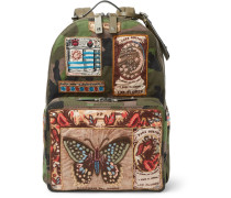 Leather-trimmed Appliquéd Camouflage-print Canvas Backpack