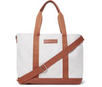 Marti Leather-trimmed Canvas Tote Bag
