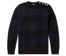 Slim-fit Checked Merino Wool Sweater
