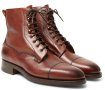 Galway Cap-toe Pebble-grain Leather Boots