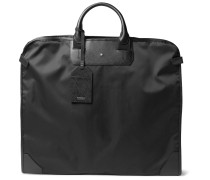 Sartorial Cross-Grain Leather-Trimmed Shell Garment Bag
