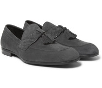 Intrecciato-trimmed Suede Tasselled Loafters
