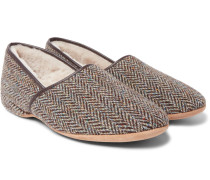 Crawford Shearling-lined Harris Tweed Slippers