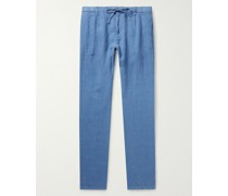 Tanker Slim-Fit Tapered Pleated Linen Drawstring Trousers
