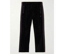 Logo-Embroidered Webbing-Trimmed Cotton-Blend Velour Track Pants