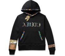 Scarf-Trimmed Logo-Print Loopback Cotton-Jersey Hoodie