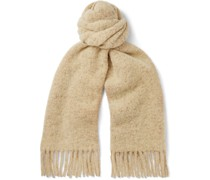 Oversized Fringed Checked Wool-Blend Scarf