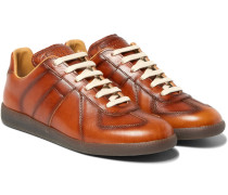 Replica Panelled Burnished-leather Sneakers