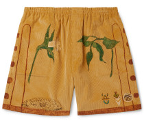 Printed Cotton-Corduroy Shorts