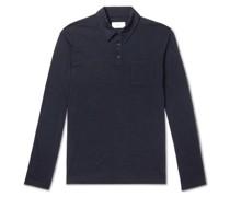 Slim-Fit Mélange Wool-Jersey Polo Shirt