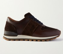 Suede-Panelled Leather Sneakers