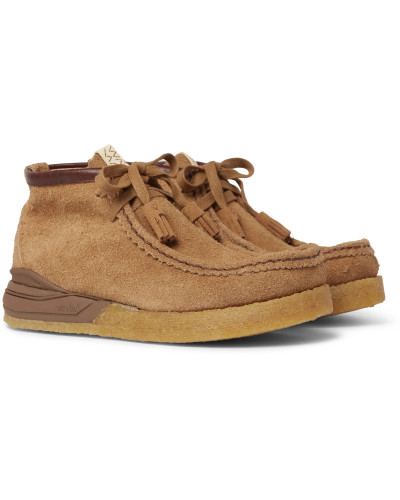 Beuys Trekker Folk Leather-Trimmed Suede Boots