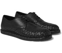 Intrecciato-trimmed Leather Derby Shoes
