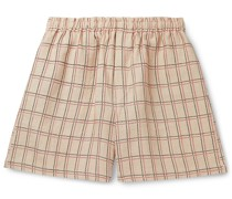 Checked Linen Drawstring Shorts