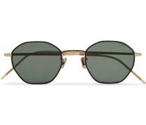 Octagon-Frame Gold-Tone and Titanium Sunglasses