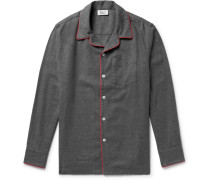 Henry Piped Cotton-flannel Pyjama Shirt