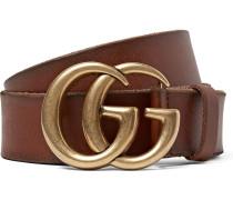 4cm Brown Burnished-leather Belt