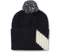 Chevron Intarsia Virgin Wool Bobble Hat