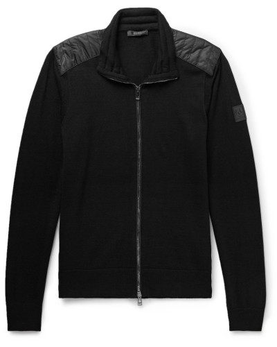 Kelby Slim-fit Quilted Shell-panelled Virgin Wool Zip-up Cardigan - Black
