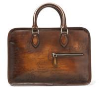 Un Jour Mini Scritto Polished-leather Briefcase