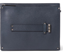 Rockstud Textured-leather Portfolio
