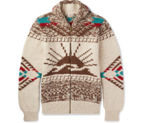 Sun & Wave Shawl-collar Merino Wool And Alpaca-blend Zip-up Cardigan