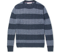 Striped Cable-knit Linen And Cotton-blend Sweater