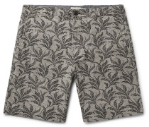 Maddox Geo Leaf Embroidered Stretch Linen And Cotton-blend Shorts