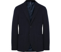 Midnight-blue Slim-fit Wool-terry Blazer