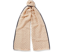 + Drake's Polka-dot Cotton And Silk-blend Scarf