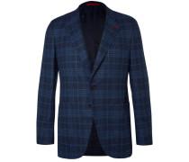 Blue Checked Wool And Silk-blend Bouclé Blazer