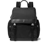 Sartorial Jet Cross-grain Leather-trimmed Nylon Backpack