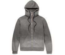 Faux Shearling-lined Ombré Cotton-jersey Zip-up Hoodie