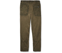 Slim-fit Distressed Cotton Trousers
