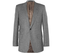 Grey Slim-fit Houndstooth Wool Suit Jacket