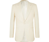 Cream Basketweave Silk Tuxedo Jacket