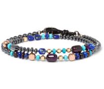Hematite, Sugilite, Lapis Lazuli And Gold-plated Wrap Bracelet