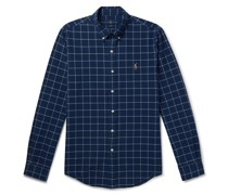 Button-Down Collar Logo-Embroidered Checked Cotton Oxford Shirt