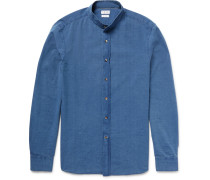 Slim-fit Grandad-collar Cotton-chambray Shirt