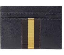 Webbing-trimmed Pebble-grain Leather Cardholder