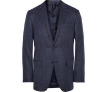 Blue Slub Silk, Cashmere And Linen-blend Blazer