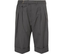Grey Polka-dot Wool Shorts