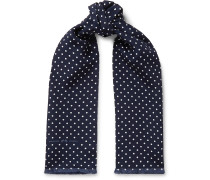 + Goodwood Fringed Polka-Dot Silk Scarf