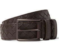 3.5cm Brown Intrecciato Leather Belt