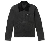 Marlon Corduroy-trimmed Garment-dyed Denim Jacket